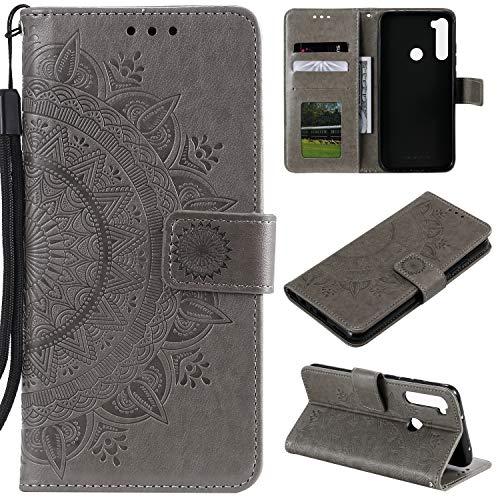 HTDELEC Xiaomi Redmi Note 8 Hülle,Ultra Slim Flip Hülle Grau Etui mit Kartensteckplatz & Magnetverschluss Leder Wallet Klapphülle Book Hülle Bumper Tasche für Xiaomi Redmi Note 8(T-Grau)