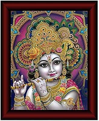 SAF Krishna Framed Acrylic Glass Painting 14 inch x 11 inch SANFR04