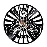 Liafa Rock Muisc Guitar Lite Sign Decorazioni per La Casa Doppia Chitarra Vinile Orologio da Parete Orologio da Parete Regalo per Musicista Rock Leggero 12 Pollici