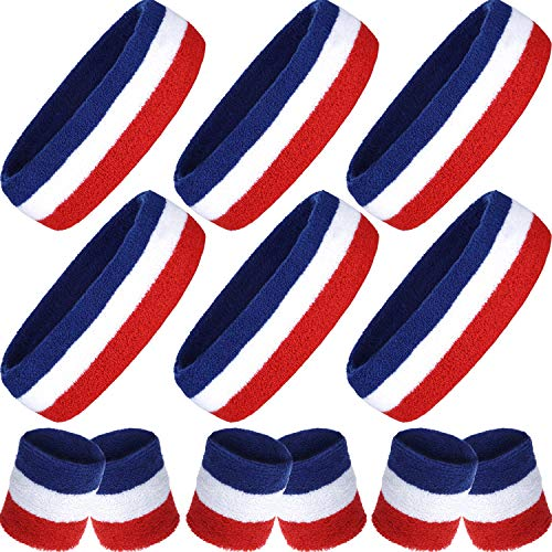Striped Sweatbands Set, 6 Pieces Striped Wrist Sweatbands and 6 Pack Stripe Headbands Cotton Sweat Band for Women and Men, Colorful Sports Headbands for Fitness Yoga Running (Red White Blue)