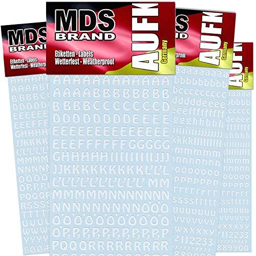 MDS Brand 4X Pack 1cm Buchstaben & Zahlen Aufkleber 50(Weiss)