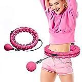 Enfourclass Aro de hula hoop Smart rosa para adultos para pérdida de peso, no se deshilacha, 24 aros de hula articulados rosados para pérdida de peso y ajuste físico (rojo)