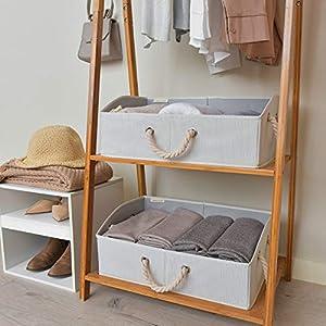StorageWorks Storage Bins, Fabric storage Baskets, Foldable Closet Organizer Trapezoid Storage Box By, Bamboo Style, White, EX-Jumbo, 3-Pack
