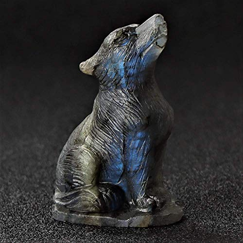 Artistone 2.0' Wolf Statue and Statue Hand-Carved Gemstone Natural Labrador Stone Wolf Statue Sculpture Wolf cub Decoration Statue Statue as Decoration, Office Decoration (Labradorite)