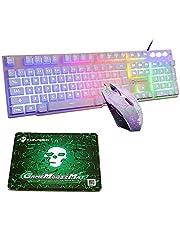 UrChoiceLtd Rainbow Backlit Ergonomische Usb Mechanisch gevoel Gaming-toetsenbord + 2400 DPI 6 knoppen Optische regenboog LED USB-gamingmuis + GRATIS gamingmuismatten (lichtgevende sleutel, wit)