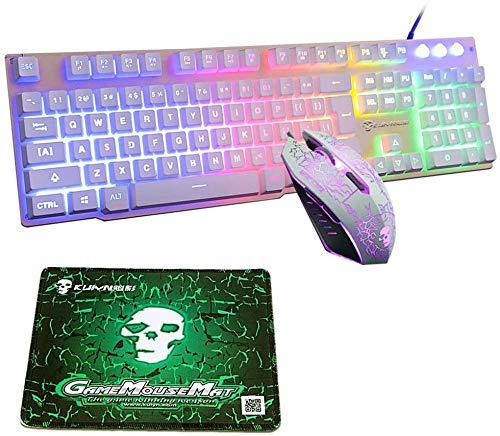 UrChoiceLtd Meyying T6 Regenbogen Hinterleuchtet Multimedia USB Spiel Tastatur + 2400DPI 6 Tasten Optisch Regenbogen LED USB Spiel Maus +Spiel Mauspads (Leuchtender Schlüssel, weiß)