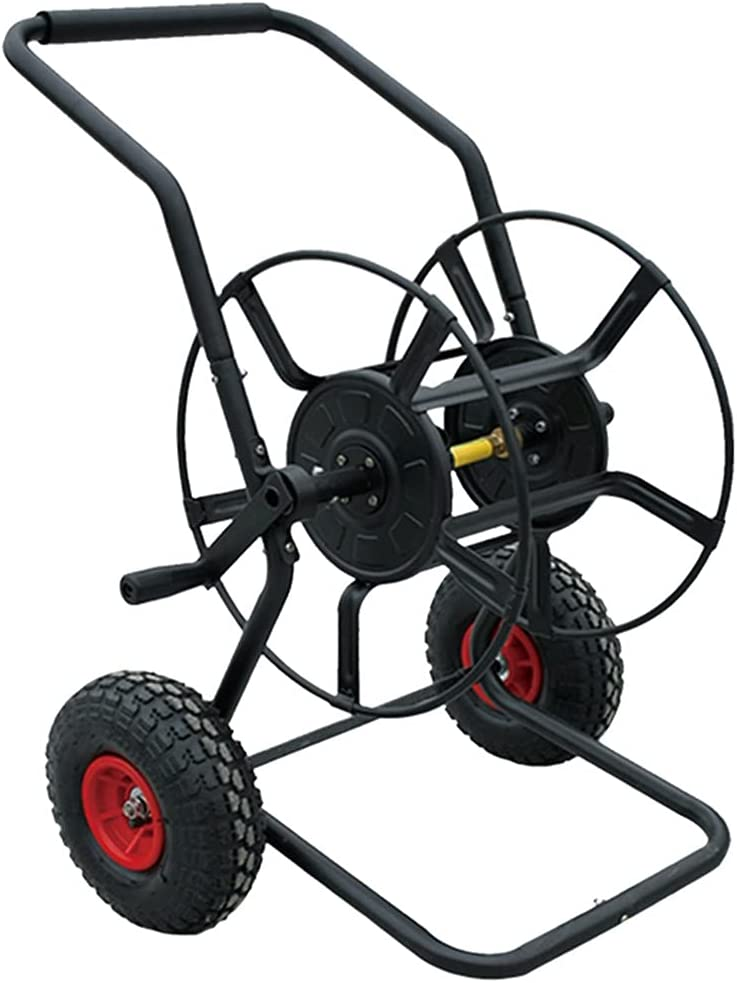 Garden Hoses Hose Reel Cart with for w Wheels Discount mail order Black Year-end annual account