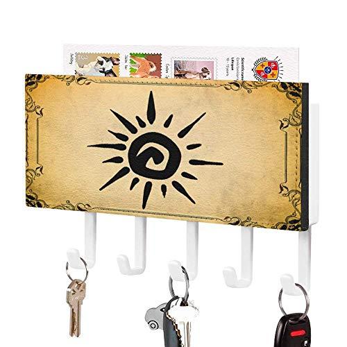 Soporte para llaves, gancho para colgar en la pared, color negro Surf 01, soporte para correo de entrada, organizador de correo de pared, organizador de llaves decorativo con 5 ganchos