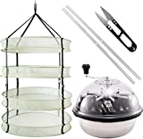 iPower 19-Inch Leaf Bowl Trimmer Machine Twisted Spin Cut for Plant Bud Upgraded Sharp Blades with Clip on Hanging Herb Drying Rack Net, 2FT 4L, 4-Layer