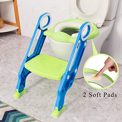 VETOMILE Kinder Toilette Töpfchen Trainer mit Treppe und Toilettensitz für 1-7 Kinder (grün und blau))