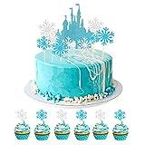 41pcs Decoración para Tarta, WENTS Cupcake e Topper de Copo de Nieve,Copo de Nieve Castillo Cupcakes decoración, Topper de Pastel de Happy Birthday para Decoración de Fiesta