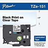 Brother Genuine P-Touch TZE-151 Tape, 1' (24 mm) Standard Laminated P-Touch Tape, Black on Clear Laminated for Indoor or Outdoor Use, Water-Resistant 26.2 ft (8m), Single-Pack