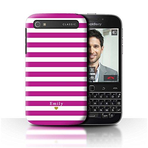 Stuff4 Personalisiert Individuell Streifen/Gestreift Hülle für BlackBerry Classic/Q20 / Fuchsia Rosa Herz Design/Initiale/Name/Text Schutzhülle/Case/Etui