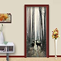 ZWYCEX ドアステッカー ステッカーオンザドア自己接着森の壁紙のためにドアDIYのプリントアートピクチャー家の装飾の壁画ワードローブリノベーションデカール (Sticker Size : 77x200cm)