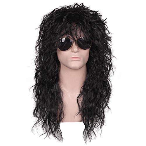 FantaLook Mens 80S Long Curly Black Rocker Costume Wig
