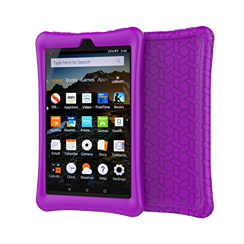 BMOUO Case for All-New Amazon Fire HD 8 Tablet (7th and 8th Generation, 2017 and 2018 Release) - Light Weight Shock Proof Soft Silicone Back Cover for Fire HD 8, Purple