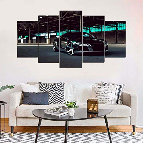VKEXVDR Art Impresión Lienzo,Tamaño Grande, R8 Cromado, superdeportivo -200x100cm Diseño Profesiona/5pcs(Sin Marco)