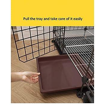Une cage Chenil Cages chien for les petites et les chiens de taille moyenne Indoors WC indépendant.Clôture Kennel Dog Pet [moins de 15 kg, 75 * 75 * 58-L] avec WC, avec tapis anti-dérapant, Lanières,