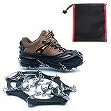 Greetuny 1Par Crampones Trail con 19 Puntas Dientes De Acero para Nieve y Hielo Tracción para Invierno Deportes para Cámping Alpinismo Acampada Senderismo Marcha Invierno (L, Negro)