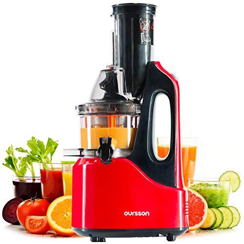 OURSSON Slow Entsafter Gemüse und Obst Kaltpresse BPA Frei, Vertikale Saftpresse, Ruhiger Motor, Umkehrfunktion|Tragbarer Griff, Saftkanne