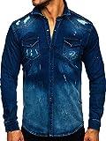 BOLF Hombre Camisa Vaquera de Manga Larga Cuello Italiano Camisa de Algodón Camisa Elegante Slim fit Estilo Casual RWX R801 Azul Oscuro L [2B2]