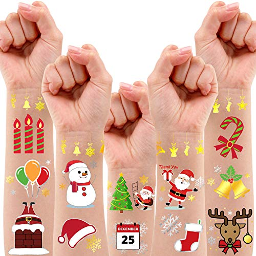 Partywind 36 Styles Metallic Glitter Christmas Party Decorations Temporary Tattoos for Kids, Christmas Birthday Party Favors Supplies, Christmas Holiday Stickers with Snowflake, Xmas Tree, Santa - 2 Sheets