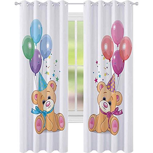 Tende oscuranti termiche isolate, con simpatici orsacchiotti seduti con baloons per feste, celebrazioni per bambini, design divertente, W52 x L108, tende per soggiorno e camera da letto, multicolore