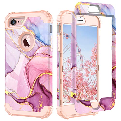 PIXIU Compatible with iPhone 6 6s case,Three Layer Heavy Duty Shockproof Protective Soft Silicone Hard Plastic Bumper Sturdy Case Cover for iPhone 6 6s 4.7 inch Marble Rose Gold