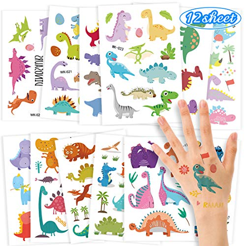 O-Kinee Stickers for Kids Children Stickers Fake Waterproof Tattoo Sticker Rewarding Gifts Birthday Party Decorations for Childrens, Kids, Girls, Boys, Teens (Dinosaur Sticker 12pcs)