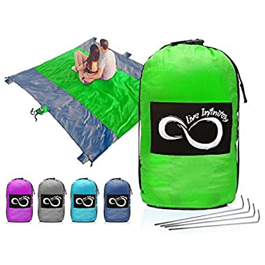 Live Infinitely Sand Free Compact Outdoor Beach/Picnic Blanket- Huge-9' x 10' for 7 Adults- Best Mat for Festivals & Hiking-Very Soft & Quick Drying Ripstop Nylon- (9' x 10' Green Middle)