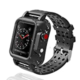 OWKEY Waterproof Apple Watch Case 42mm Series 3 with 3PCS Premium Multi-Size Bands, Built-in Screen Protector Full Body Rugged iWatch Protective Case Anti-Scratch Drop Shock Proof Apple Watch Case