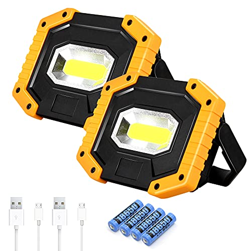 T-SUN LED Work Light COB 30W 2000LM, Rechargeable Portable Waterproof Super Bright Battery Powered Job Site Lighting Built in Power Bank for Outdoor Camping Hiking Car Repairing Emergency (2 Pack)