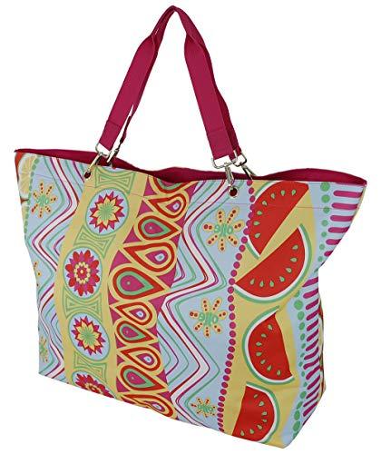 Strandtasche XXL Mit Reißverschluss 100% Baumwolle extra Groß und Leicht