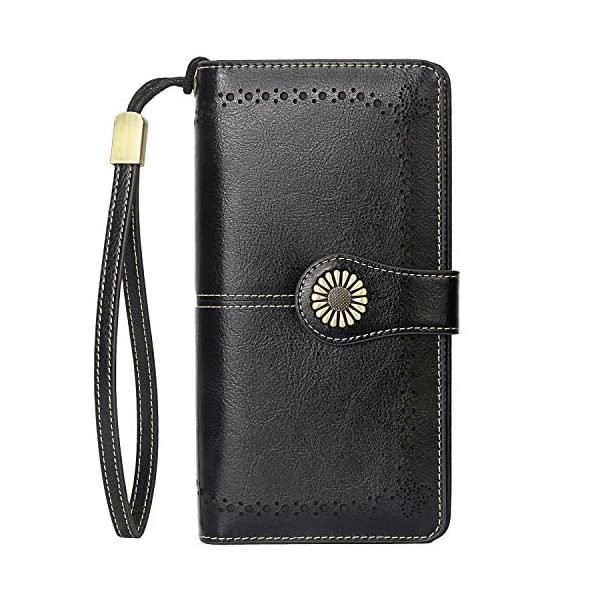 Lavemi Womens Large Capacity RFID Blocking Leather Wristlet Clutch Wallets Card Holder 2