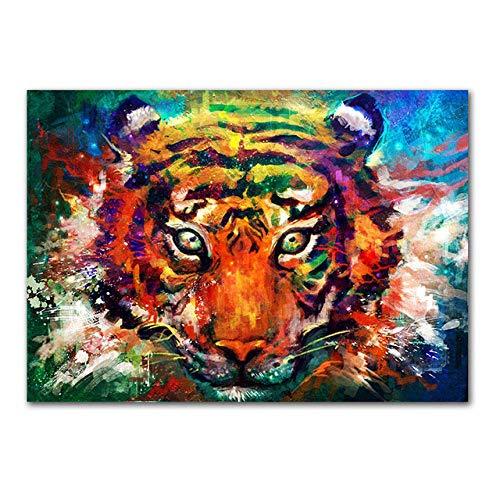 QianLei dier canvas schilderij tijger kop wanddruk schilderijen wandkunst poster afbeelding voor woonkamer huis decoratie 50x75cm No Frame