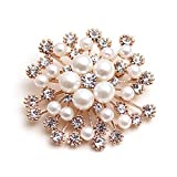 Weiy Glittering Imitation Pearl Crystal Snowflake Flower Design Brooch Pin Badge Fashionable Charming Dress Scarves Shawl Clip Clothes Bags Decoration Jewelry Gift for Women Girls