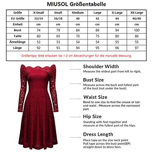 Miusol Damen Vintage 1950er Off Schulter Cocktailkleid Retro Spitzen Schwingen Pinup Rockabilly Kleid Dunkelblau - 3