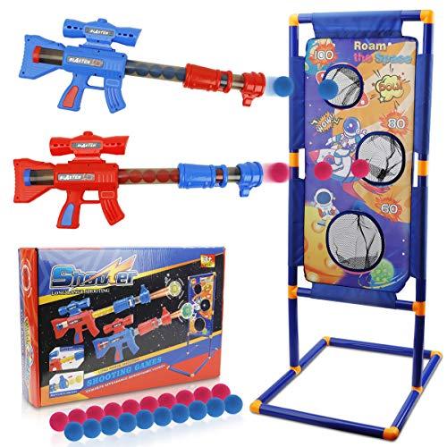 KETIEE 2 Piezas Lanzador Pelotas Espuma con Objetivo de Tiro Vagar por el Espacio, 2 Jugadores Pistola Juguete con 20 PCS Bolas de Espuma, Pistola Blaster para Niños de 3+ Años Regalos de Cumpleaños