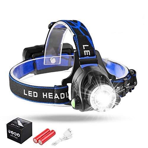 Myguru Luce Frontale LED Sensore, Lampada da Testa USB Ricaricabile Messa a Fuoco Regolare TorciaImpermeabile per Campeggio/Corsa/Pesca/Caccia/Speleoggio/Ciclismo/Arrampicata/Lettura/Escursionismo