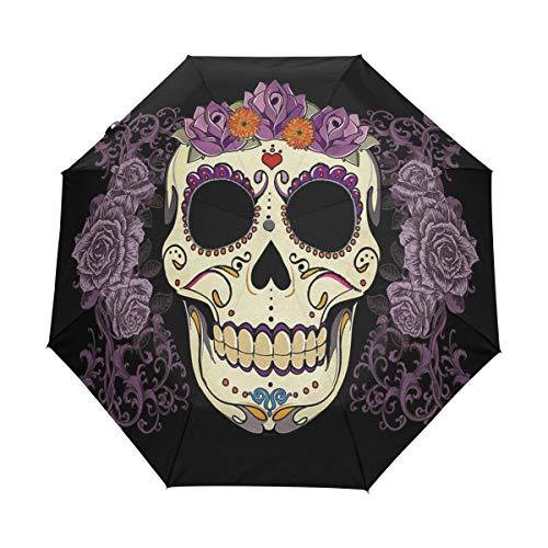 OuLian Umbrella Vintage Sugar Skull Golf Travel Sun Rain Windproof Auto Umbrellas with UV Protection for Girls Boys Kids