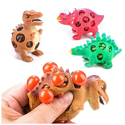 Toner Depot 3 Pack Dinosaur Stress Relief Toys for Kids and Adults Mesh Dinosaur Squeeze Ball - Sensory StressFidget - Squishy Toy Mesh Squishy Anti Stress Reliever Jelly Water Beads Grape Ball