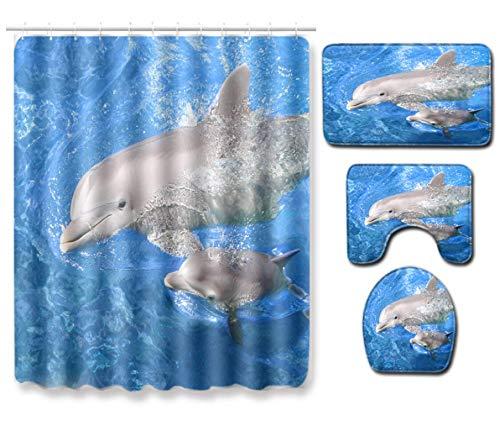 JZZCIDGa Delphin Badematte Set 4-Teilige Badematte U-Förmige Konturmatte Duschvorhang Toilettensitzbezug Badematte Anti Slip