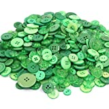 TangTanger 600+ Pcs Assorted Size Resin Buttons 2 and 4 Holes Round Craft for Sewing DIY Crafts Children's Manual Button Painting (Green)