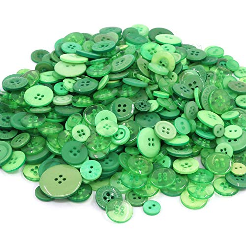 TangTanger 600+ Pcs Assorted Size Resin Buttons 2 and 4 Holes Round Craft for Sewing DIY Crafts Childrens Manual Button Painting (Green)