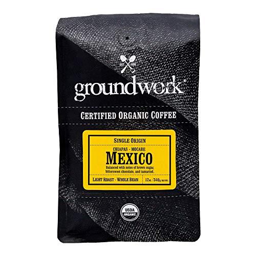 Groundwork Certified Organic Single Origin Whole Bean Coffee, Mexico, 12 oz Bag