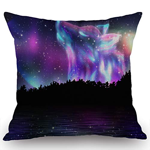 Swono Wolf Decorative Throw Pillow Case Colorful Northern Landscape with Howling Wolf Spirit and Aurora Borealis Decoration Cushion Cover Home Decor 18 x 18 Inch Cotton Linen for Sofa Couch