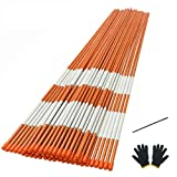 Sunnyglade 50PCS 48 Inch Driveway Marker Set 5/16 Inch Dia Fiberglass Reflective Snow Stakes with Steel Drill Bit & Protection Gloves for Parking Lots, Walkways(50, 5/16 Inch)