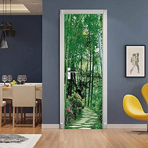 3D Puerta Engomada del Arte Mural de la Moderno,Verde, bosque de bambú, paisajeEtiqueta de Puerta Autoadhesiva Extraíble Impermeable dormitorio decoración del hogar 77x200cm