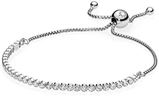 Sparkling Strand Bracelet, Sterling Silver, Clear Cubic Zirconia, 9.1 in