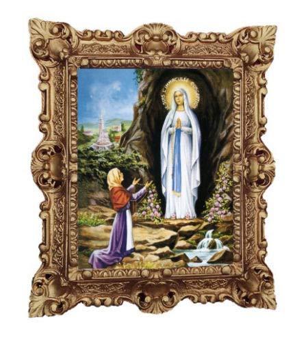 Lourdes 45x38 cm Mutter Jungfrau Madonna Mutter Gottes heilige Maria Barock Gemälde Bild mit Rahmen Repro Antik Look 45x38 cm Gold